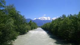 River Arve and Mont Blanc